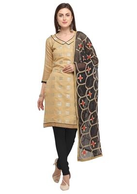 Beige & Black Banarasi Brocade Salwar Suit With Embroidered Dupatta
