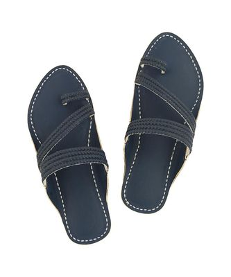 blue Mens Leather Chappal