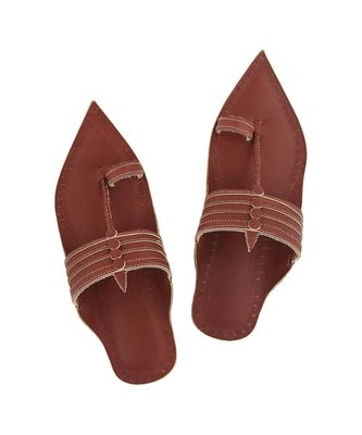 red mens Leather Chappal