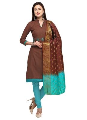 Brown beads & Embroidered cotton Dress Material with banarasi dupatta