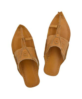 Dark Yellow Mens Leather Chappal