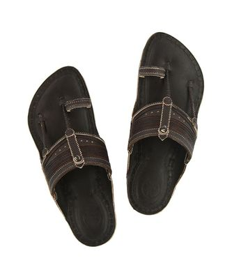Dark brown Mens Leather Chappal