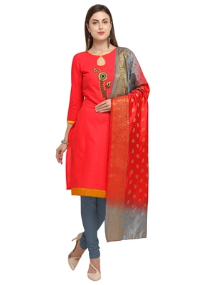 PINK BEADS COTTON UNSTITCHED SALWAR SUIT WITH DUPATTA
