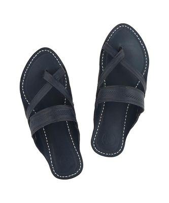 blue Mens Leather Chappal
