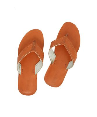 Orange Mens Leather Chappal