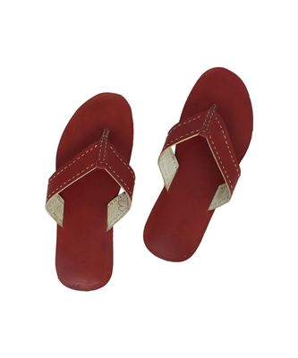 Cherry Red Mens Leather Chappal