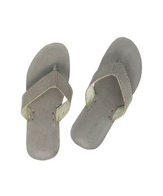 grey Mens Leather Chappal