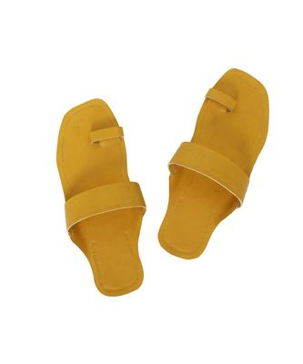 Yellow Mens Leather Chappal