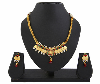Red Green Goddess Laxmi Gold Plated Peacock Necklace Set