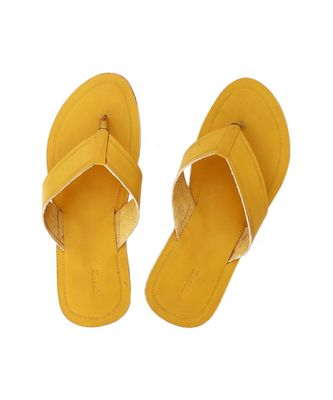 Yellow Mens Leather Chappal