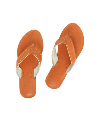 Orange Mens Leather Chappal