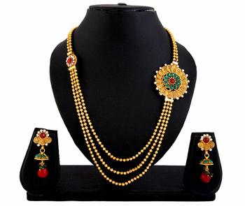 Gold Plated 3 string Necklace Earrings Set