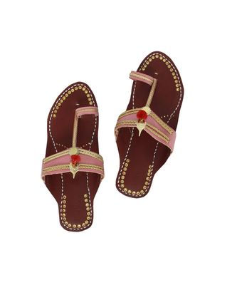 red Womens Leather Chappal