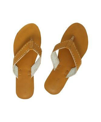 Dark Yellow Womens Leather Chappal