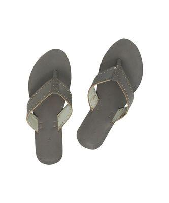 grey Women Leather Chappal