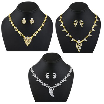 Contemporary Gold and Silver Plated Princess Style Set Of 3 Necklace Set Combo For Women