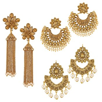 Trendy Chandbali Gold Plated Lct Stone Set Of 3 Earring Combo For Women