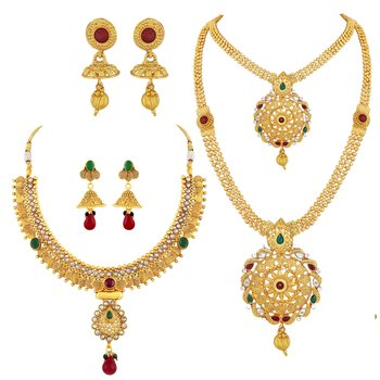 Traditional Gold Plated MultiColor Stone Copper Set Of 2 Necklace Set Combo For Women