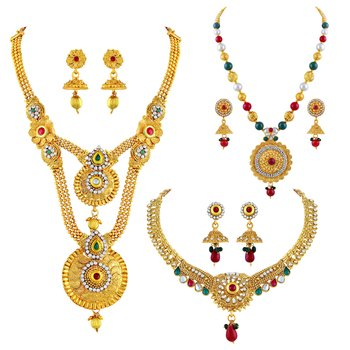 Traditional Gold Plated Matinee Style Multi Color Stone Set Of 3 Necklace Set Combo For Women