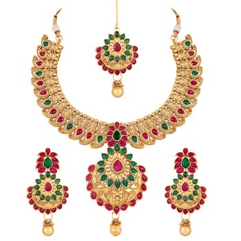 Royal Gold Plated Multicolor Stone Choker Necklace Set For Women
