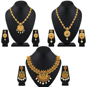 Traditional Peacock Gold Plated Multy Color Stone Set Of 3 Necklace Set Combo For Women