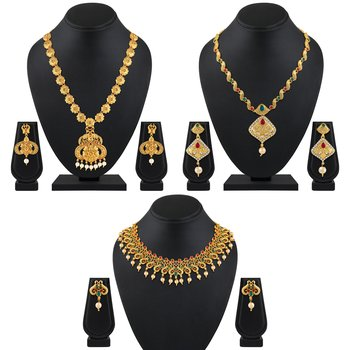 Traditional Flower Design Gold Plated Multy Color Stone Set Of 3 Necklace Set Combo For Women