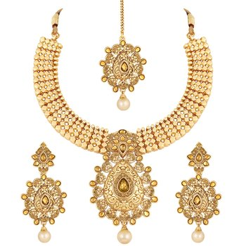 Marvellous Designer Gold Plated Choker Necklace Set For Women