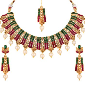 Attractive Gold Plated Multi Stone Choker Style Necklace Set For Women