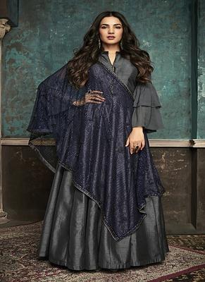 Grey embroidered silk salwar