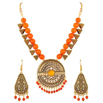Modern Designer Gold Plated Multi Beads Princess Style Necklace Set For Women