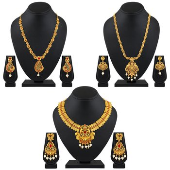 Traditional Bridal Peacock Gold Plated Multy Color Stone Set Of 3 Necklace Set Combo For Women