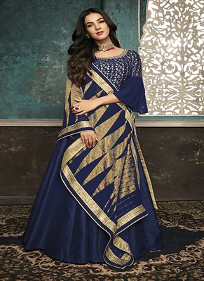 Navy-blue embroidered silk salwar