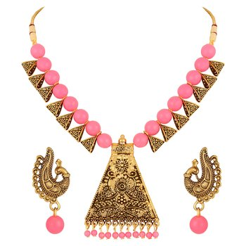 Filigree Design Gold Plated Pink Beads Princess Style Necklace Set For Women
