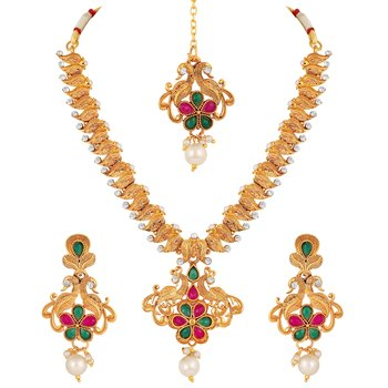 Peacock Design Gold Plated Princess Style Necklace Set For Women