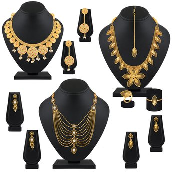 Exclusive Designer Gold Plated Multy Color Stone Set Of 3 Necklace Set Combo For Women