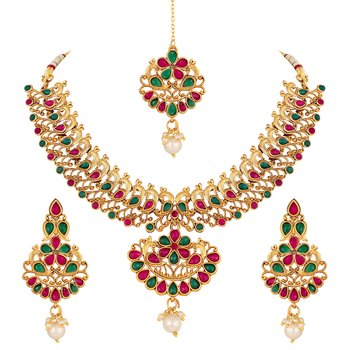 Designer Peacock Design Gold Plated Choker Style Necklace Set For Women
