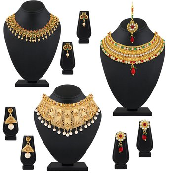 Rajwadi Wedding Wear Gold Plated Multy Color Stone Set Of 3 Necklace Set Combo For Women