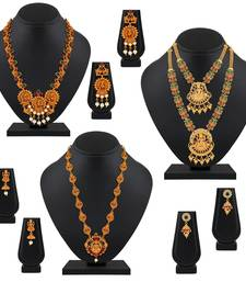 Traditional Temple Gold Plated Multy Color Stone Set Of 3 Necklace Set Combo For Women