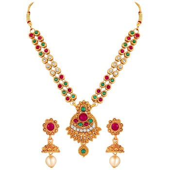 Indian Trendy Gold Plated MultiStone Choker Style Necklace Set For Women