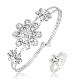 Stylish Silver Plated Flower Shape Set Of 1 Kada & 1 Finger Ring Combo For Women