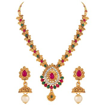 Fashionable Gold Plated Multy Stone Choker Style Necklace Set For Women