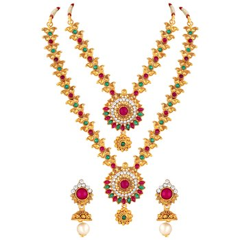 Rajwadi Wedding Wear Gold Plated Multy Stone Princess Style Necklace Set For Women