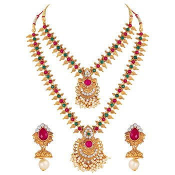 Exclusive Royal Gold Plated Multy Stone Opera Style Necklace Set For Women