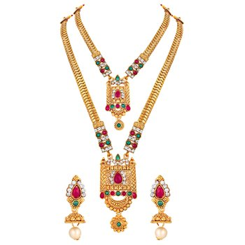 Royal Wedding Wear Gold Plated Multicolor Stone Opera Style Necklace Set For Women