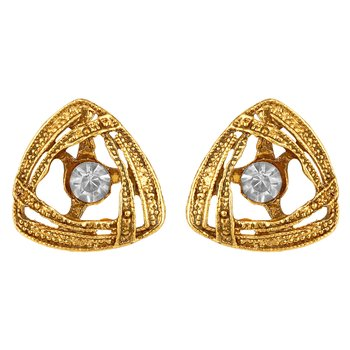 Modern Fashionable  Gold Plated White stone Stud Earring For Women