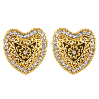 Heart Shaped Gold Plated White Stone Stud Earring For Women