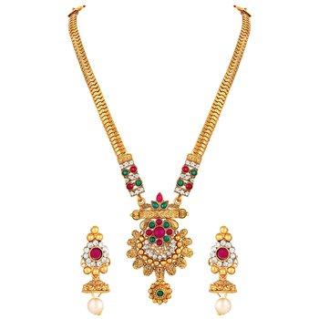 Rajwadi Wedding Wear Gold Plated Multi Stone Opera Style Necklace Set For Women