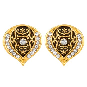 Latest Designer Gold Plated White Stone Stud Earring For Women