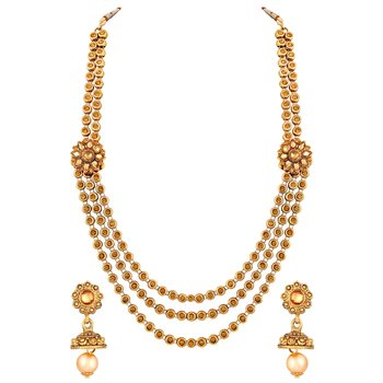 Traditional Wedding Wear Multy String Gold Plated Opera Style Necklace Set For Women
