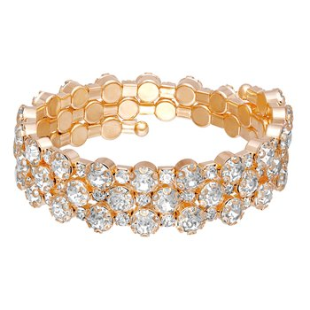 Party wear Gold Plated White CZ Diamond Kada for Women